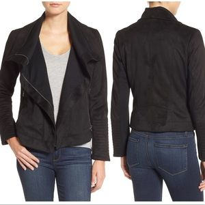 Lucky Brand Faux Suede Black Moto Jacket